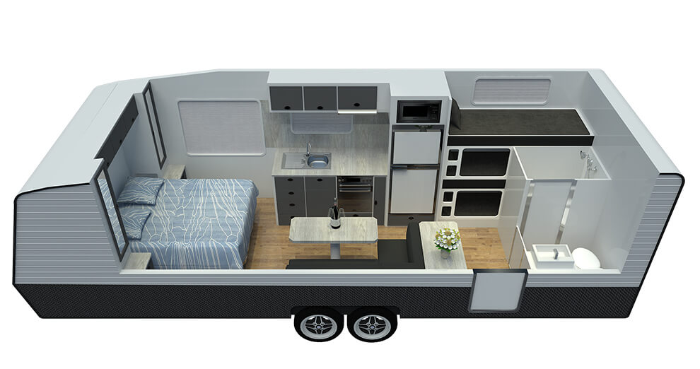 21ft Ultimate Family Design Rear Door Floor Plan
